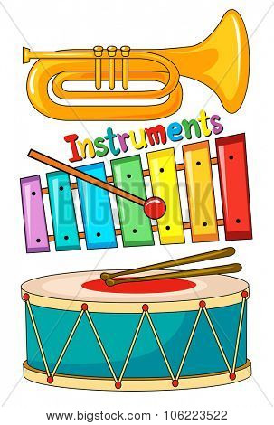 Different type of musical instrument illustration