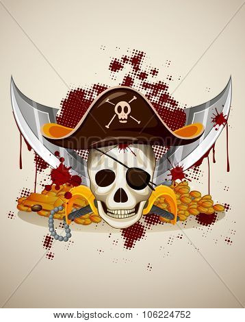 Pirate theme with skull and sword illustration