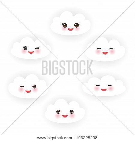 Kawaii funny white clouds set, muzzle with pink cheeks and winking eyes  on white background. Vector