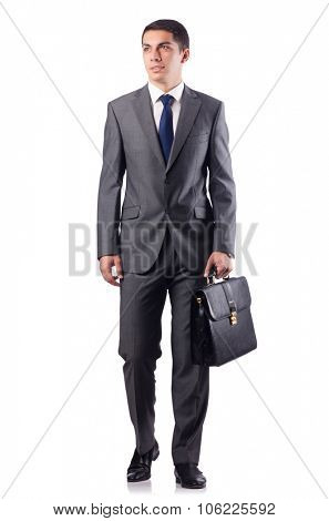 Handsome businessman isolated on white