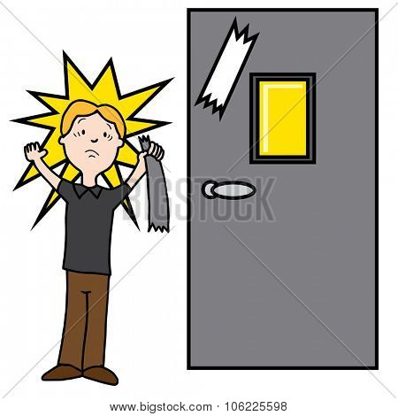 An image of a man damaging door with sticky tape.