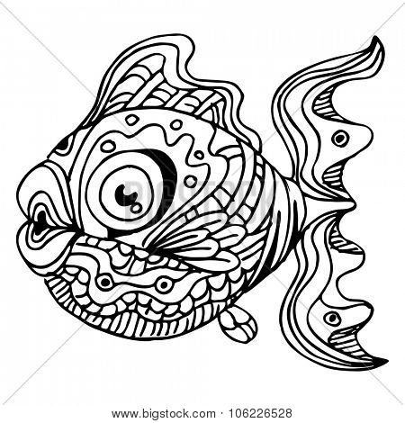 An image of a zentangle fish.