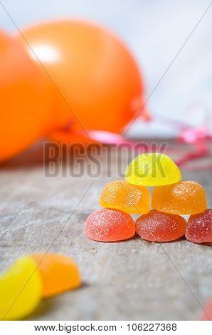 orange balloons and mermaids