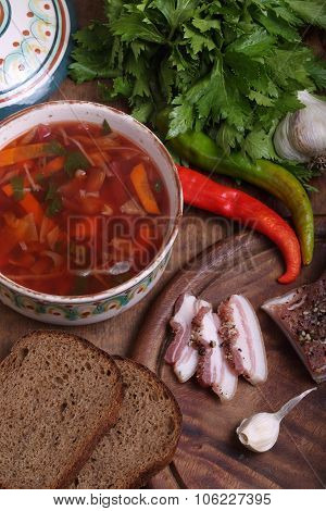 Borsch With Black Bread With Garlic, Salty Fat And Vodka