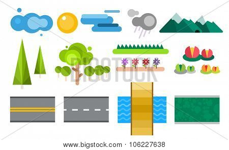 Landscape constructor icons set. Buildings, houses, trees and architecture signs for map game texture. Mountains, river, sun. Design element Isolated on white.Tree vector,road elements,city elements