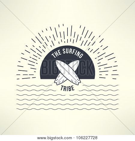 Vector surfing background with sun and waves. T-shirt surfboard graphic design. Inspirational sports