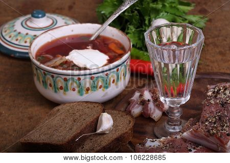Borsch Submitted With Vodka And Salty Fat