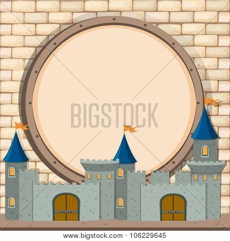 Border design with castle  illustration