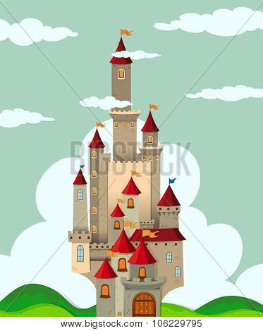 Castle with tall towers illustration