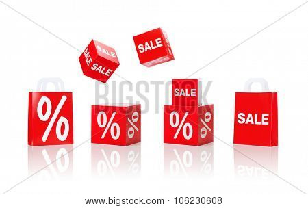 shopping, retail and merchandising concept - set of boxes and shopping bags with sale and percent sign