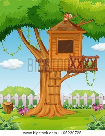 Treehouse in the garden illustration