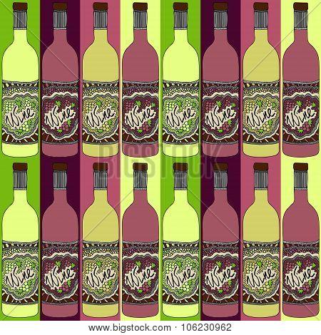 Wine Bottles Zentangle Pattern Retro 2