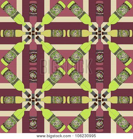 Wine Bottles Zentangle Pattern Retro 5