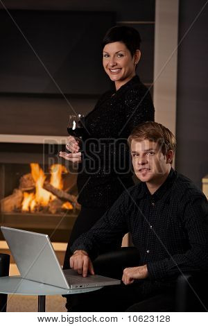 Couple With Computer At Home