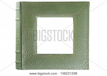Stamped Leather Album Cover Framing Square Window Inside Isolated On White