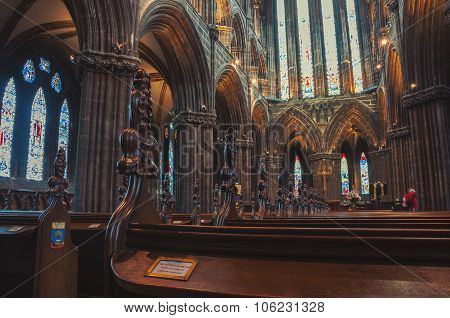 Cathedral interior in Glasgow, Scotland