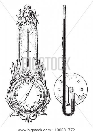 Barometer dial, vintage engraved illustration. Dictionary of words and things - Larive and Fleury - 1895.