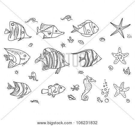 Set with sea fishes. Contour. Black and white.