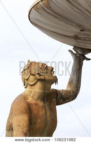 One Of The Three Tritons From Triton Fountain In Capital Of Malta- Valletta
