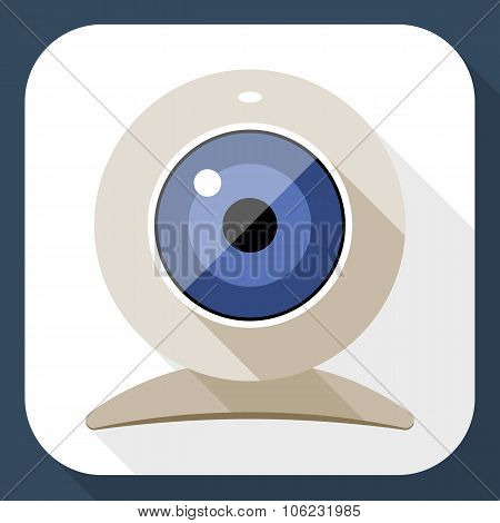 Web Camera Flat Icon With Long Shadow