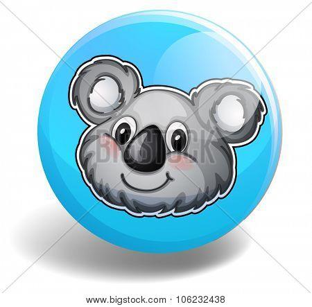 Cute koala bear head on badge illustration