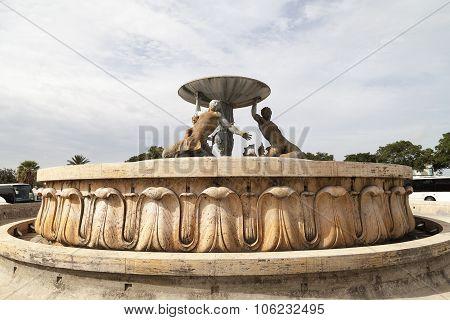 Triton Fountain In Capital Of Malta - Valletta, Europe
