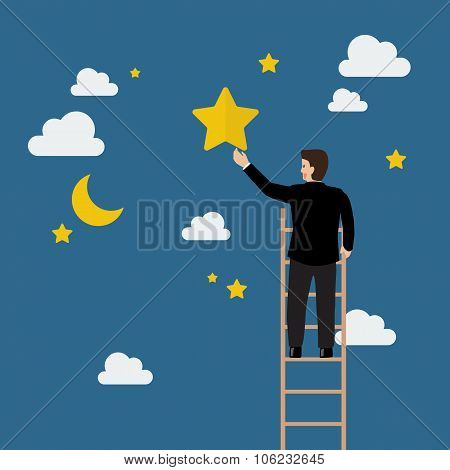 Businessman On The Ladder Trying To Catch The Star