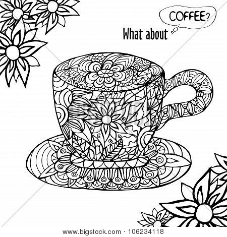 Illustration With A Cup Of Coffee And Hand Drawn Floral