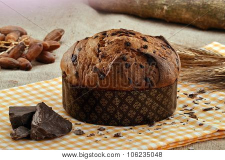 Panettone bread and ingredients on rustic wood ambient.Panetone and ingredients.Traditional christmas food.