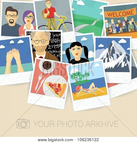 Snapshot memories. Vector mock up.