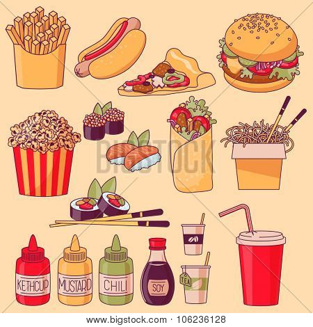 Set of cartoon fast food vector icons.