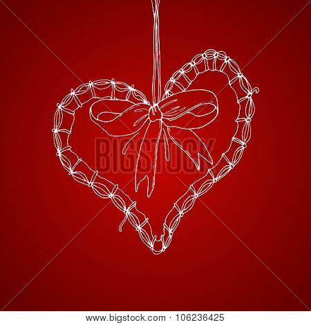 Xmas pen drawing heart illustration with greetings