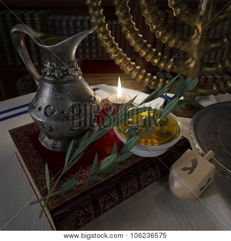 hanukkah close up with candles, old books, spinning top