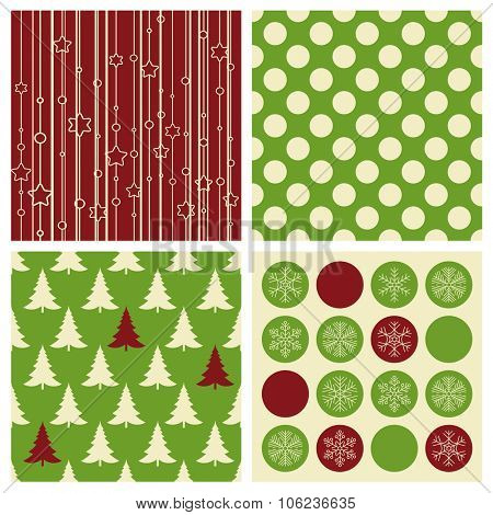 Christmas seamless background vector pattern set.