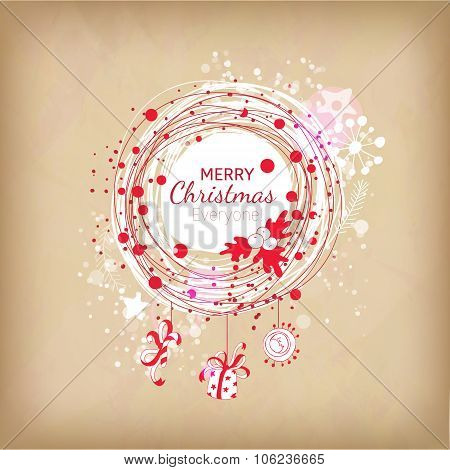 Cute Red and white colors Christmas wreath ilustration