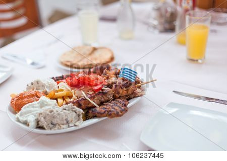 Greek Menu With Four Types Of Grilled Meat