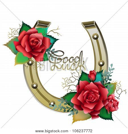 Horseshoes in golden color with red roses