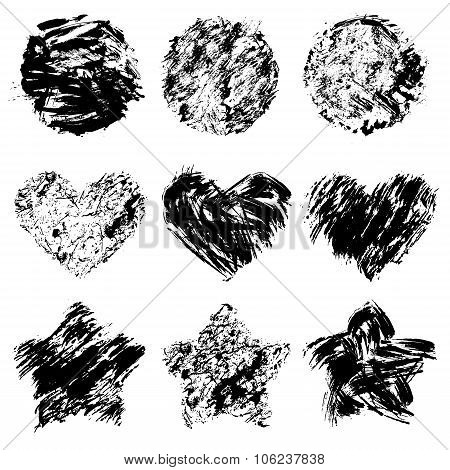 Set Of  Grunge Black Color Figures - Circles, Hearts, Stars. Isolated On White Background.