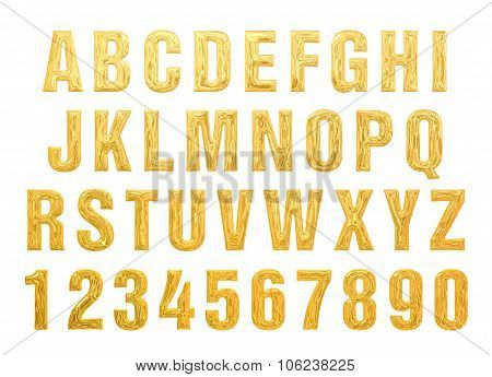 text gold. alphabet of gold on a white background. gold bullion text