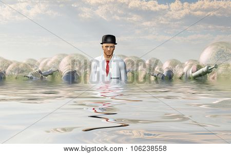 Man with large ideas surrounding him in the form of classic light bulbs In flooded Landscape