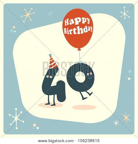 Vintage style funny 40th birthday Card.