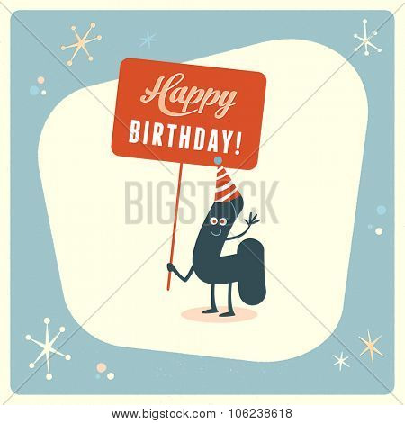 Vintage style funny 4th birthday Card.