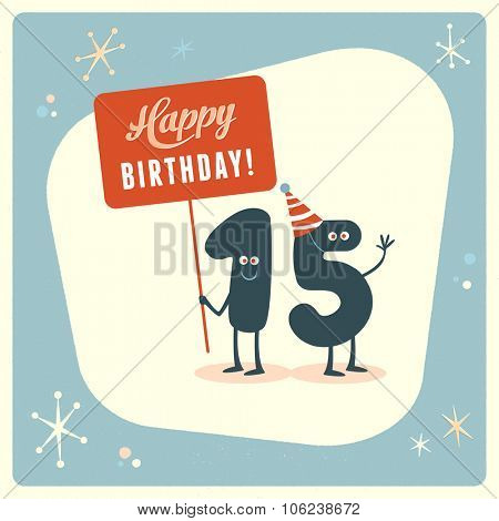 Vintage style funny 15th birthday Card.