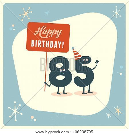 Vintage style funny 85th birthday Card.