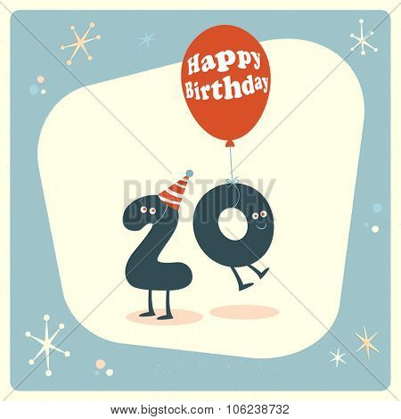 Vintage style funny 20th birthday Card.