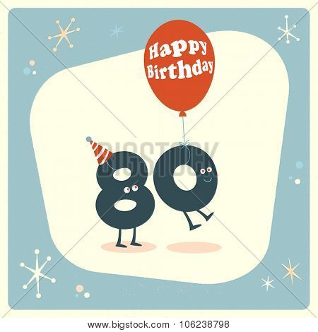 Vintage style funny 80th birthday Card.