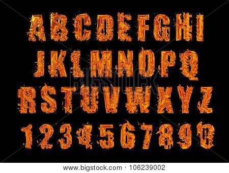Fire font. Alphabet of Lava