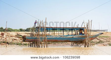 Fishing Boat On Dry Dock Asia