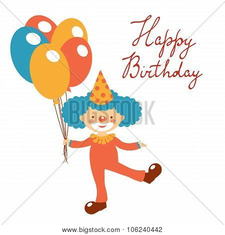 Stylish Happy birthday card with cute clown holding balloons