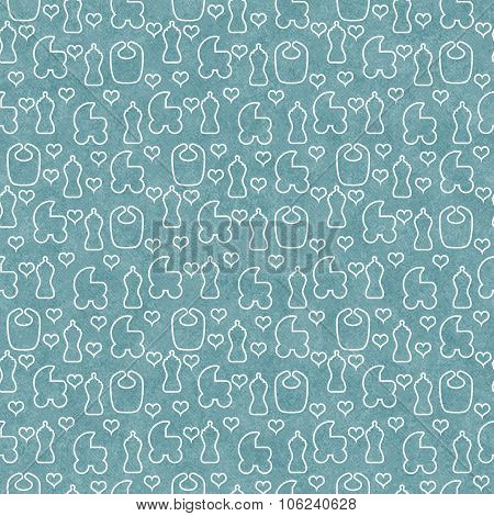 Green And White Baby Tile Pattern Repeat Background